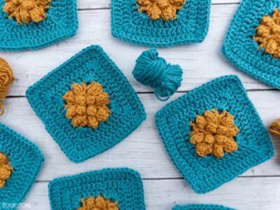 crochet Marigold Sky Granny Square free pattern