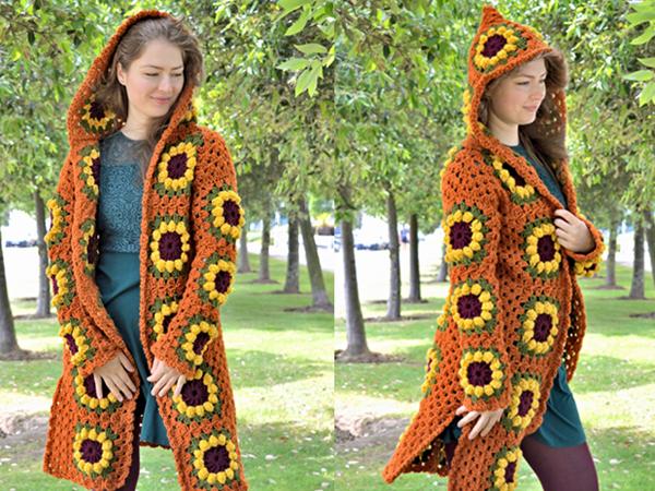 crochet Sunflower Granny Square Cardigan free pattern