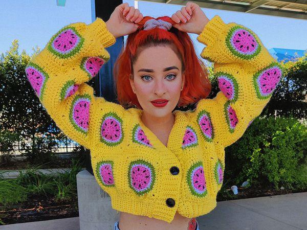 crochet Watermelon Cardigan easy pattern