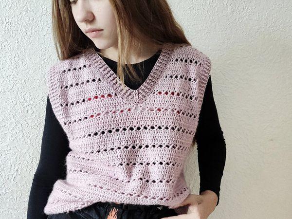 crochet Women Sweater Vest easy pattern