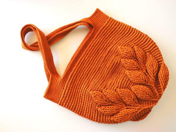 crochet 3D Leaf Bag free pattern