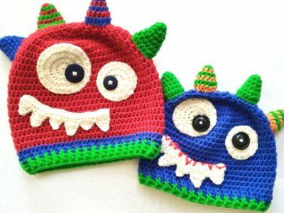 crochet BABY MONSTER BEANIE free pattern