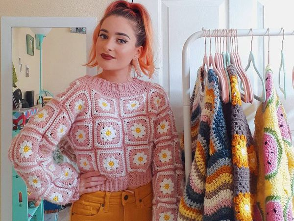 crochet Daisy Sweater easy pattern