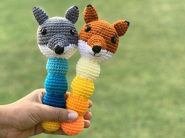 crochet Ferdi the Fox Walt the Wolf Rattle free pattern