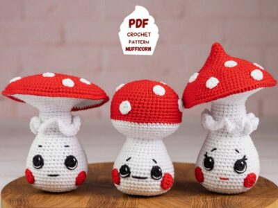 crochet Kawaii Mushrooms Amigurumi easy pattern
