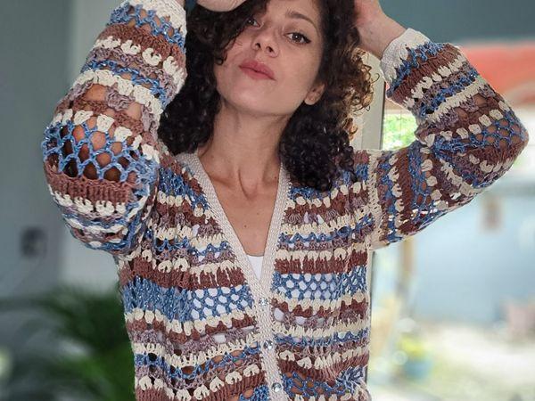 crochet Late Summer Blouse Cardigan free pattern