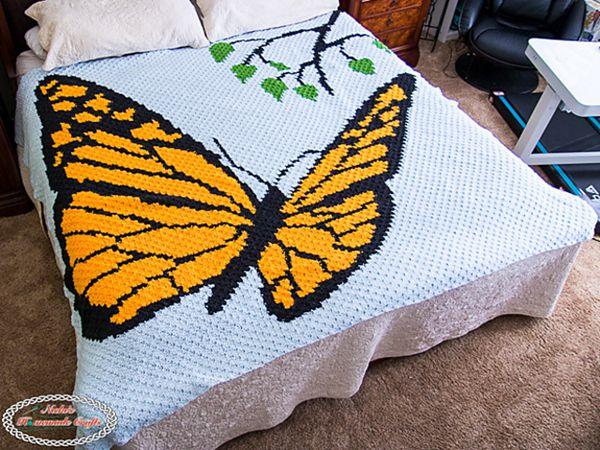 crochet Mini C2C Butterfly Blanket free pattern