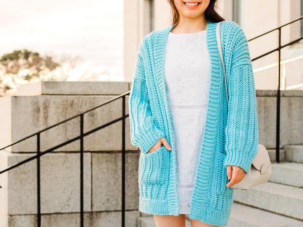 crochet Palermo Ribbed Cardigan free pattern