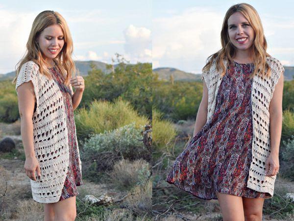 crochet Raindrop Ruana Shrug free pattern