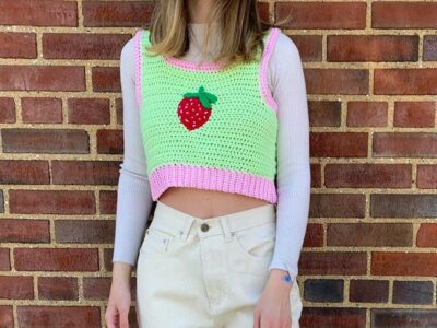 crochet Strawberry Vest free pattern