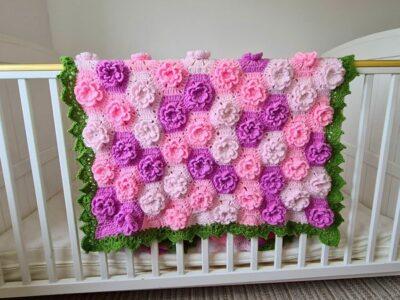 crochet Summer Garden Flower Baby Blanket free pattern