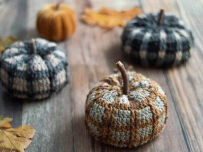 crochet Tartan Plaid Pumpkin easy pattern