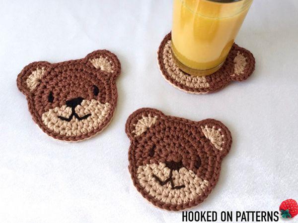 crochet Teddy Bear Coasters free pattern
