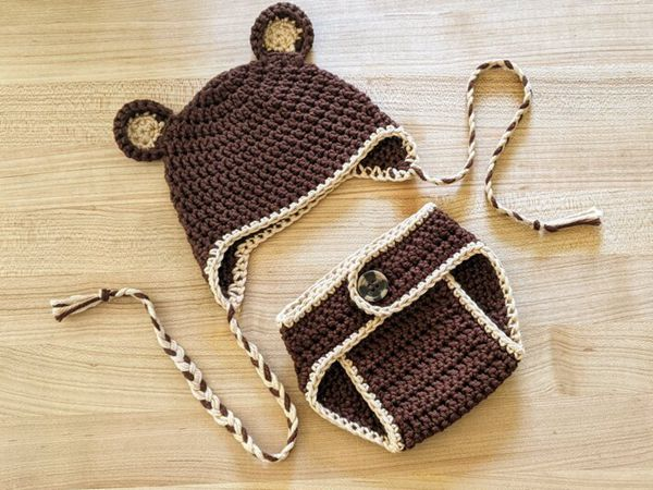 crochet Teddy Bear Hat and Diaper Cover free pattern