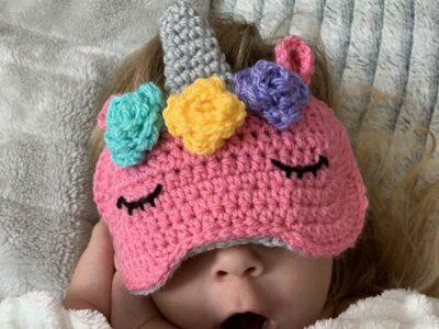 crochet Unicorn kids sleep mask free pattern
