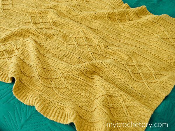 Cable Crochet Diamond Blanket free pattern