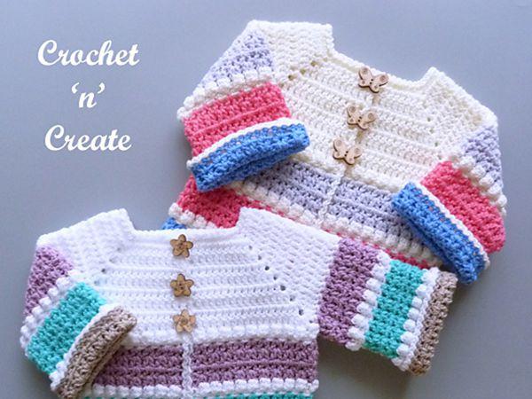 crochet Bobble In-between Baby Cardigan free pattern