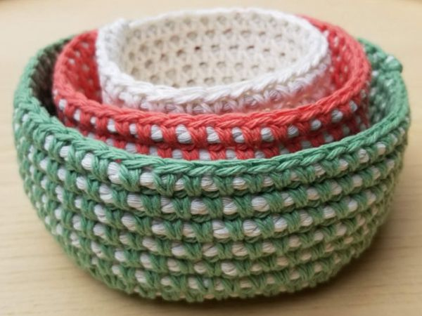 crochet CORD NESTING BOWLS free pattern