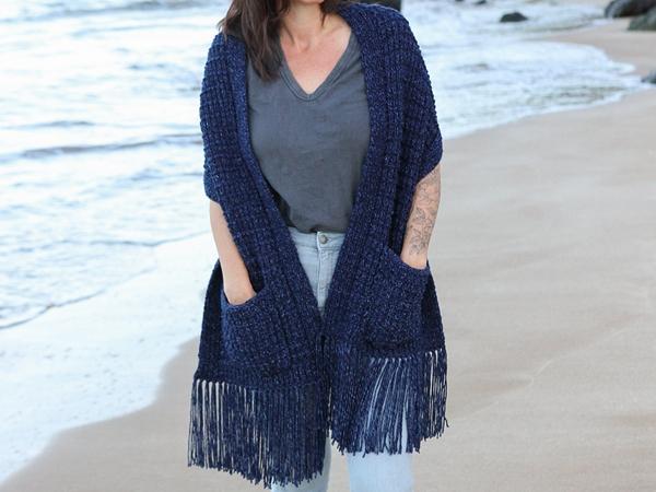 crochet Down-Home Pocket Shawl free pattern