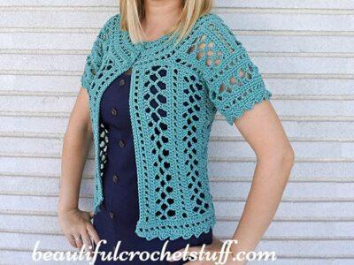 crochet Emerald Cardigan free pattern