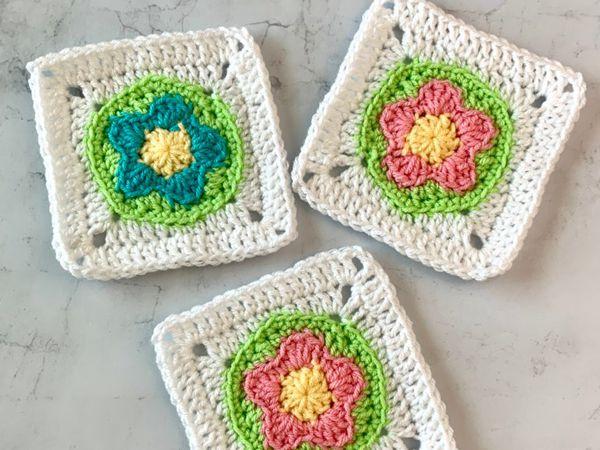 crochet FLOWER GRANNY SQUARES free pattern