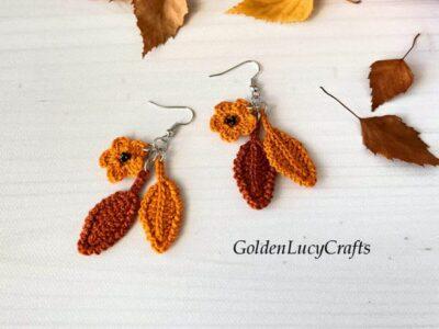 crochet Fall Earrings free pattern