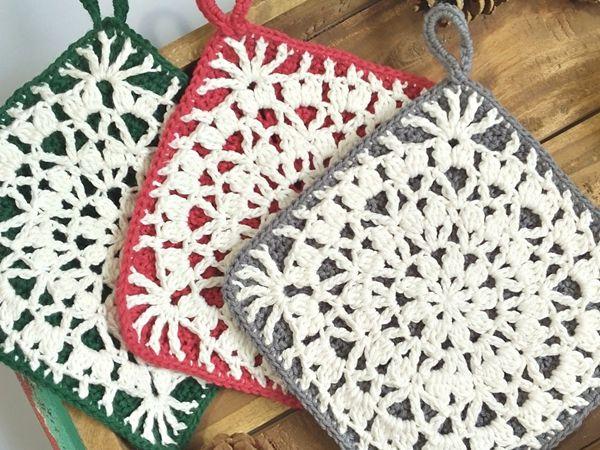 crochet Falling Petals Potholder free pattern