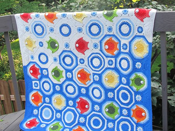 crochet Fish Baby Blanket free pattern