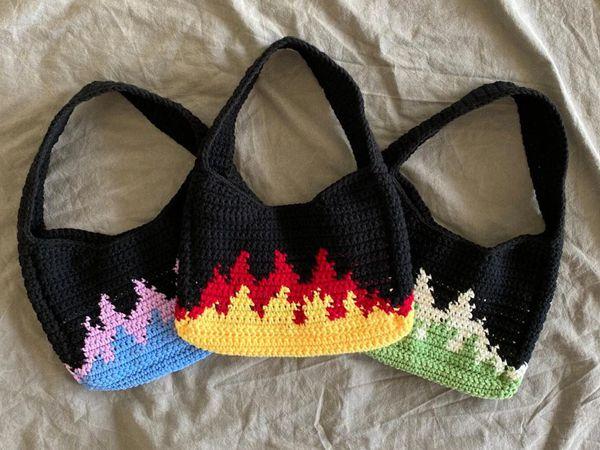 crochet Flames Shoulder Bag easy pattern