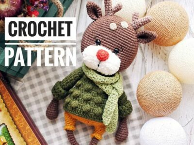 crochet Green Sweater Reindeer easy pattern