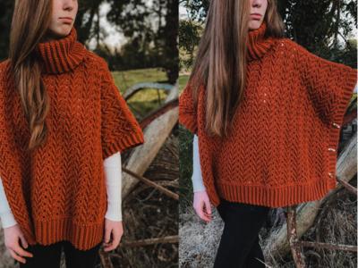 crochet HARVEST TURTLENECK PONCHO free pattern