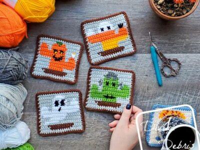 crochet Halloween Cactus Coasters free pattern