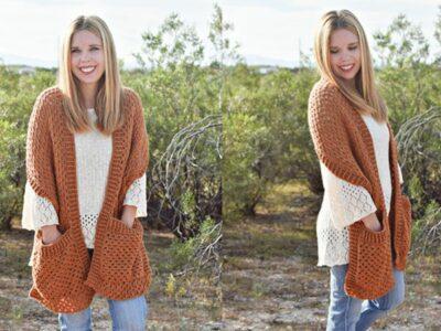 crochet Persimmon Pocket Shawl free pattern