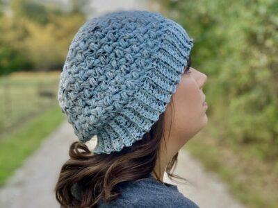 crochet SLOUCHY BEAN BEANIE free pattern