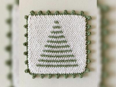 crochet Tree Stripe Hot Pad free pattern