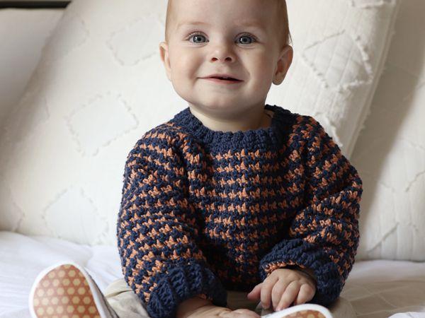 crochet Baby Jacks Fall Houndstooth Sweater free pattern