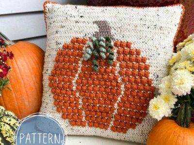crochet Bobble Pumpkin Pillow easy pattern
