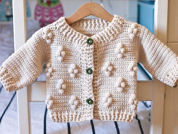 crochet Cotton Flower Cardigan easy pattern