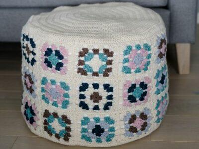crochet Granny Square Ottoman free pattern