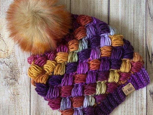 crochet Harlequin Puff Stitch Beanie easy pattern