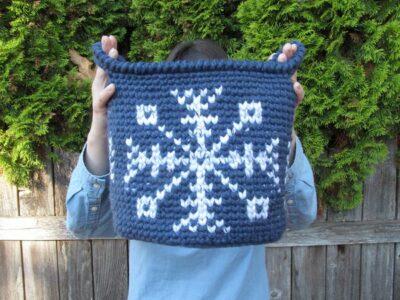 crochet Let It Snow Basket free pattern