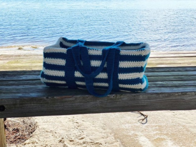 crochet STRIPED DUFFLE BAG free pattern