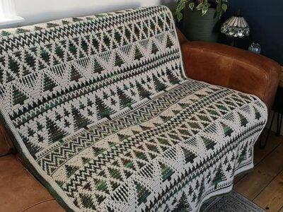 crochet Sholach Christmas Trees Blanket easy pattern