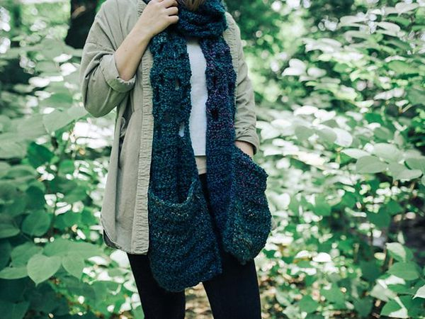 crochet Super Scarf with Pockets free pattern