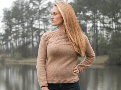 crochet Top Down Yoke Sweater free pattern